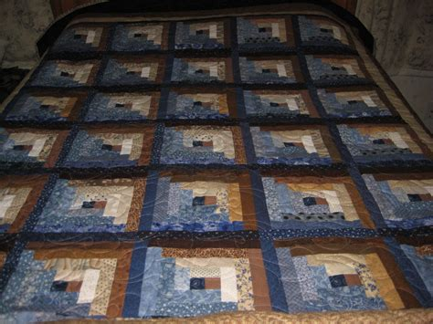 Brown Blue Quilt by Log Cabin Quilt Brown And Blue Quilt Size Log Cabin