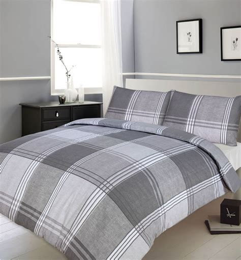 bed check grey slate colour bedding duvet quilt cover reversible