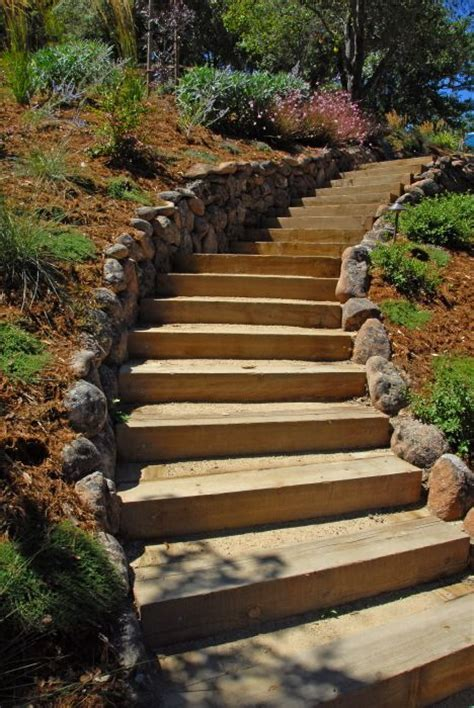 landscaping stairs railroad tie steps with rock border garden love