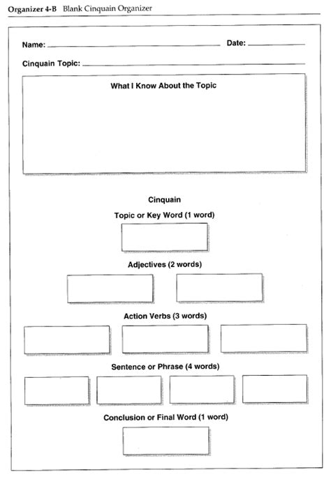 Template For Students To Write A Cinquain Poem About A Topic In Order To Summarize Learning Cinquain Poem Template