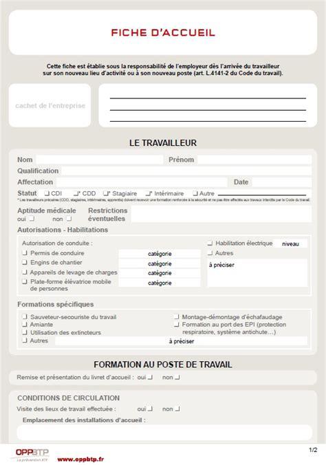 Formulaire Credit Formation Chef Entreprise Fiche D Accueil Pr 233 Vention Btp