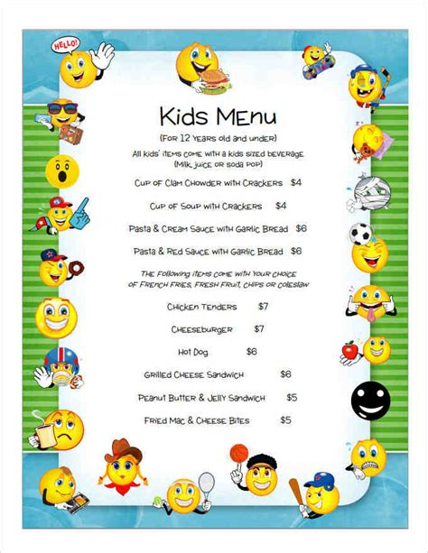 6 children s menu template a cover letters