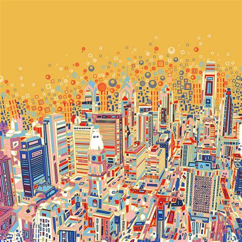 Duvet And Cover Philadelphia Panorama Pop Art Painting By Bekim Art