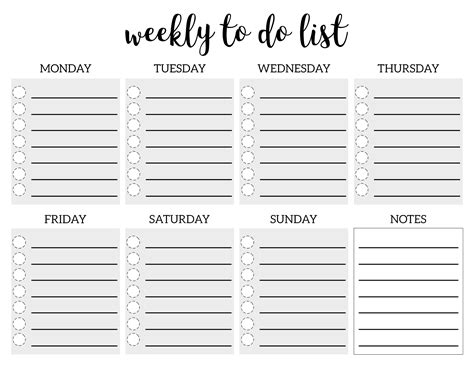 weekly todo list template weekly to do list printable checklist template paper