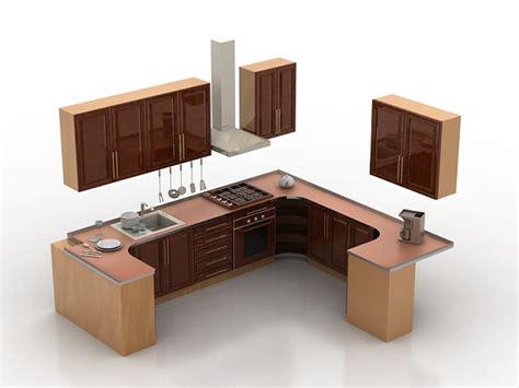 small one wall kitchen free 3d model max obj 3ds fbx stl small u shaped kitchen design 3d model 3d studio 3ds max