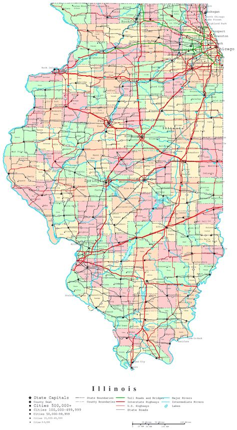 road map illinois usa large detailed administrative map of illinois state with