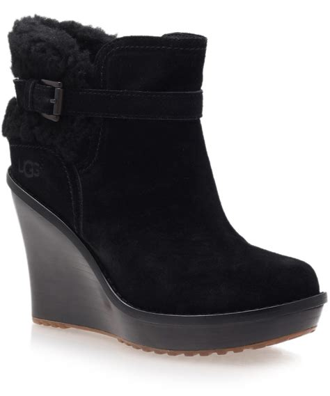 wedge black boots lyst ugg black anais wedge boots in black
