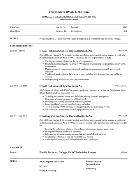 Hvac Technician Resume Template Resumeviking Com Hvac Technician Resume Template