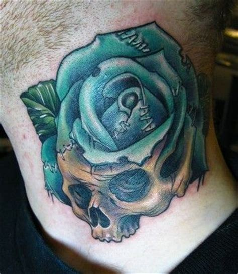tattoo old school rose and skull blue rose and skull tattoo