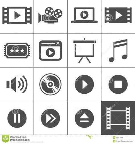 Icon Cinema Gift Card - video and cinema icon set stock images image 32321164
