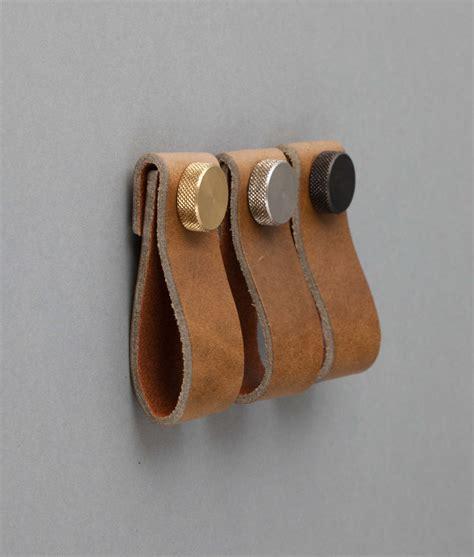 magni umber leather kitchen door handles drawer pull