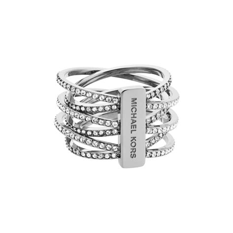 michael kors silver tone pav 233 crossover ring in metallic