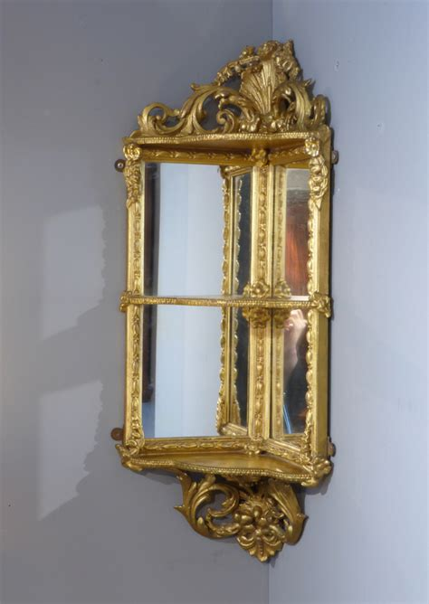 Antique corner shelf, gilt wall shelves : Antique Corner