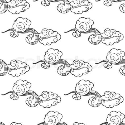 vintage pattern sketch vintage cartoon clouds seamless pattern with curlicue