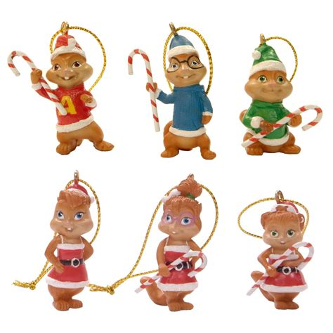 alvin and the chipmunks christmas ornament alvin the chipmunks and the chipettes mini ornament set 6 pieces seasonal