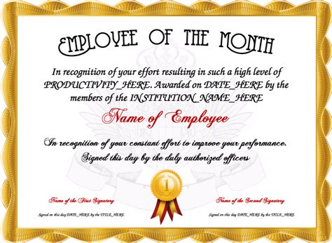 Employee Recognition Awards Templates by Employee Of The Month Certificate Template Professional