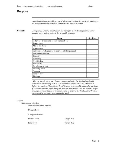 acceptance criteria template the world s catalog of ideas