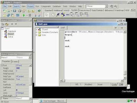 tutorial keylogger delphi 7 criar keylogger no delphi 7 newhcker blogspot com youtube