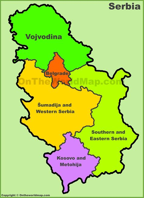 where is serbia on the map statistical regions map of serbia