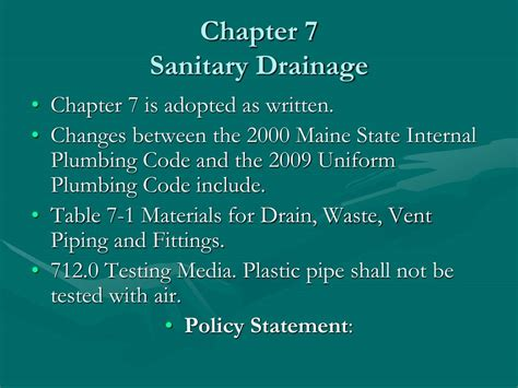 Maine State Plumbing Code ppt 2009 plumbing code presentation powerpoint presentation id 155864