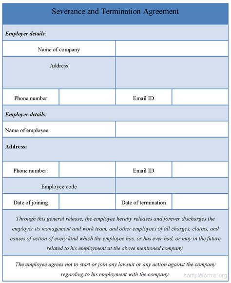 termination of employment form template severance and termination agreement form sle forms