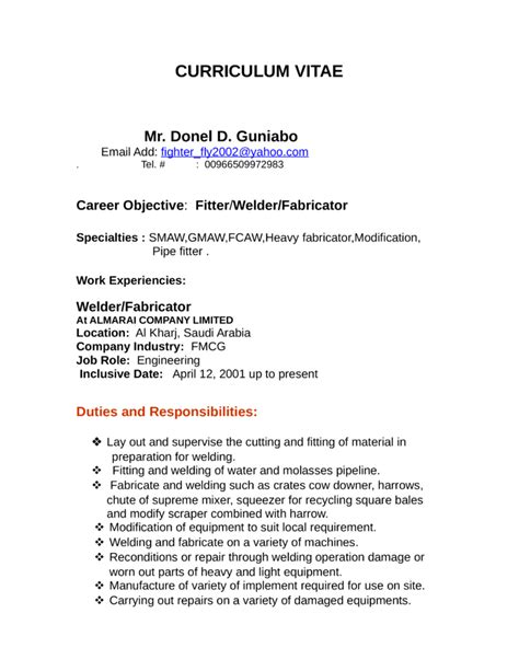 curriculum vitae sle for welder professional welder fabricator resume template