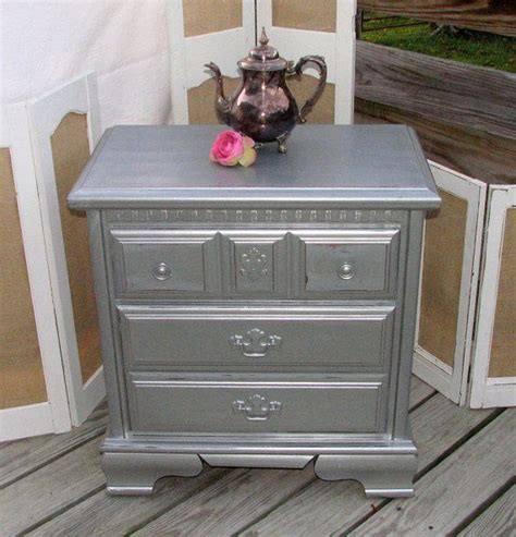 Bambus Store 1356 by Gorgeous Silver Metallic Gray Nightstand End Table By The