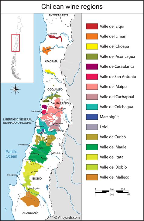 chile regions map chile map of vineyards wine regions