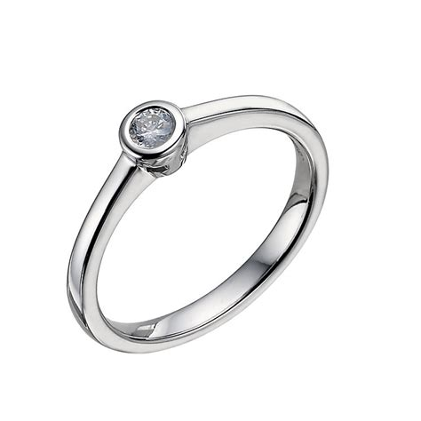 9ct white gold 0 12 carat rubover solitaire ring