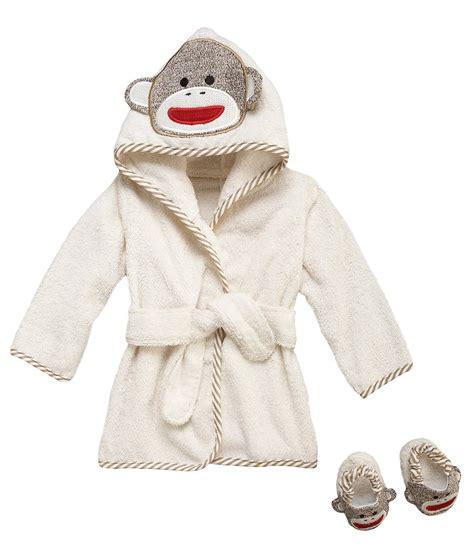 toddler bathrobe and slippers baby starters sock monkey hooded robe slippers set
