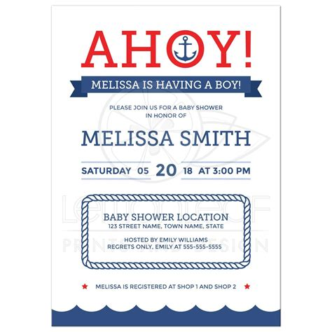Ahoy Baby Boy Baby Shower by Ahoy Nautical Baby Shower Invitation With Anchor And