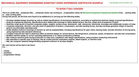 Work Experience Letter Mechanical Engineer Semiconductor Equipment Engineer Work Experience Certificates