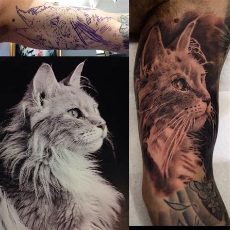 tattoo cat portrait realistic cat tattoo portrait by billymaurice tattoos