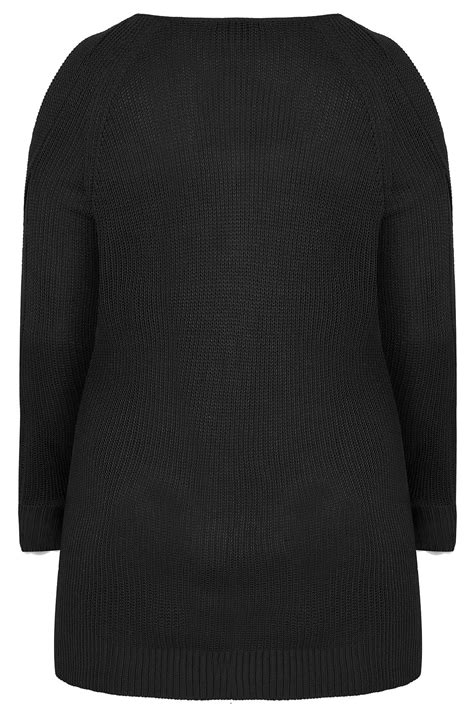 Black Knitted Jumper With Cold Shoulders & Dipped Hem, Plus size 16 to 36