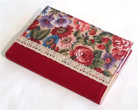 Handmade Journal Covers - fabric journal cover october roses handmade a6 notebook
