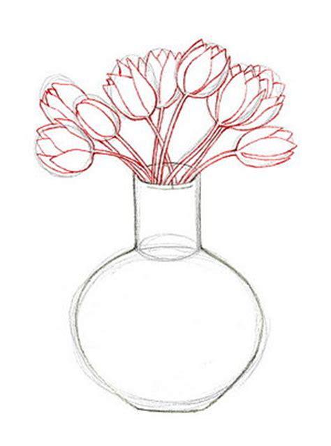 как нарисовать цветы в вазе карандашом