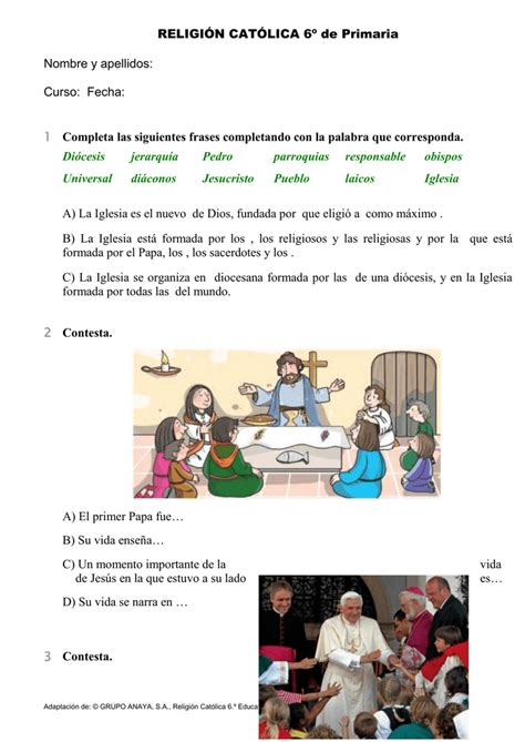 religin catlica 2 primaria religi 211 n cat 211 lica 6 186 de primaria nombre y apellidos