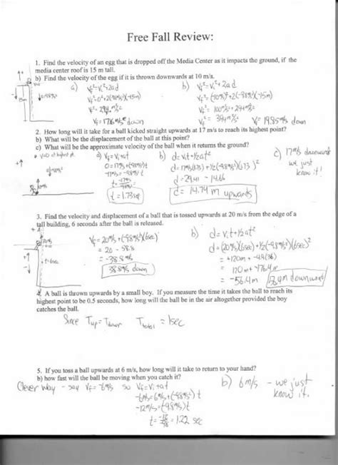 Free Fall Problems Worksheet by Worksheets Speed Velocity And Acceleration Problems
