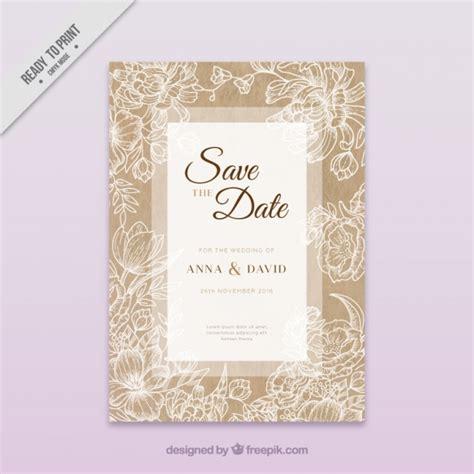 Kostenlose Vorlage ã Karte Hochzeit Hochzeit Karte Mit Floralen Skizzen Der Kostenlosen Vektor