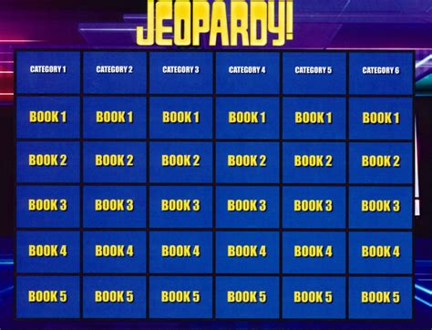 Jeopardy Summer Reading Program For Teens 6 Category Jeopardy Template