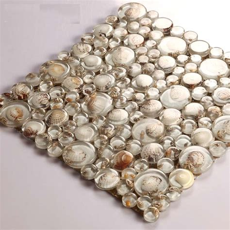 Kitchen Copper Backsplash by Glass Mosaic Resin Conch Tiles Backsplash Penny Round