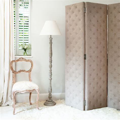 bedroom screen peek a boo studded linen upholstered dressing screen