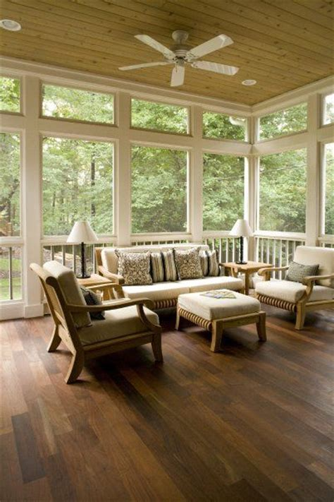 screened  porch love  thick wood trim   wood
