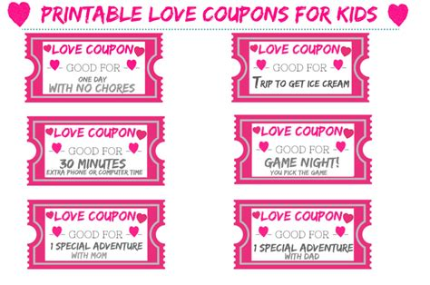 free online printable love coupons free printable love coupons for kids for valentine s day