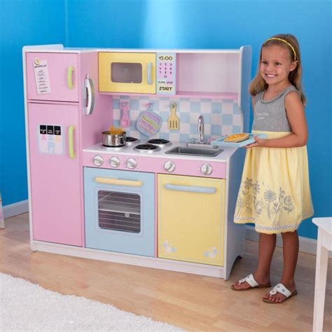 Childrens Kitchen Playsets by Kidkraft Large Pastel Pink Wooden Kitchen Play Set Ebay