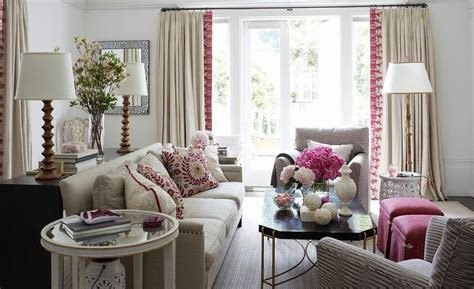 Beige And Pink Curtains Decorating Blush Pink Sofa With Brass And Lucite Cocktail Table Transitional Living Room