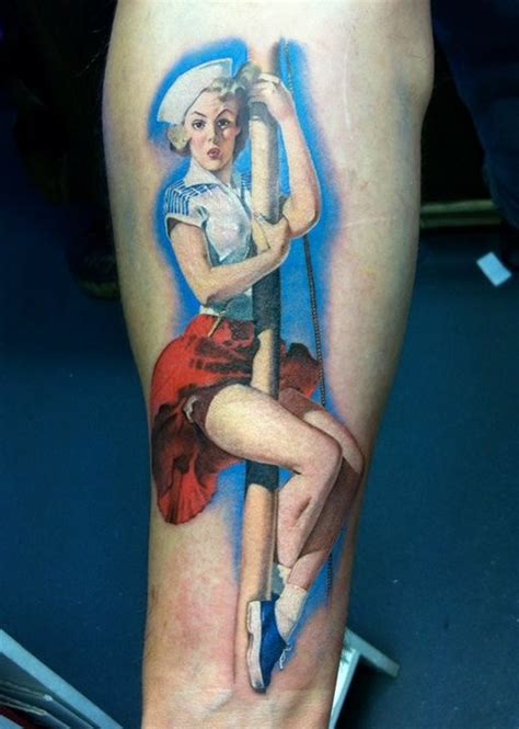 tattoo arm pin up sailor pin up girl traditional tattoo on forearm