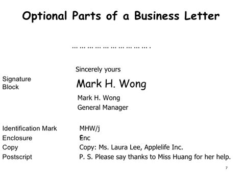 Optional Parts Of Business Letter With Definition Presentation Of Business Documents Ch1