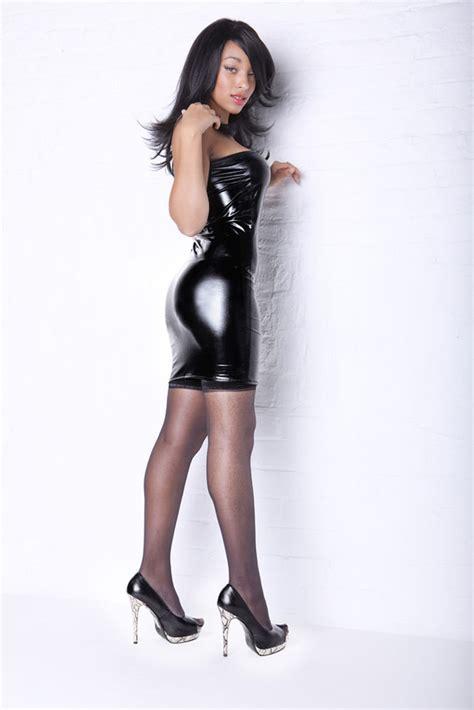 Mimi Top Spandek black dress look lycra faux pvc strapless