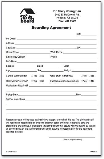 Boarding Consent Form Smartpractice Veterinary Veterinary Release Form Template
